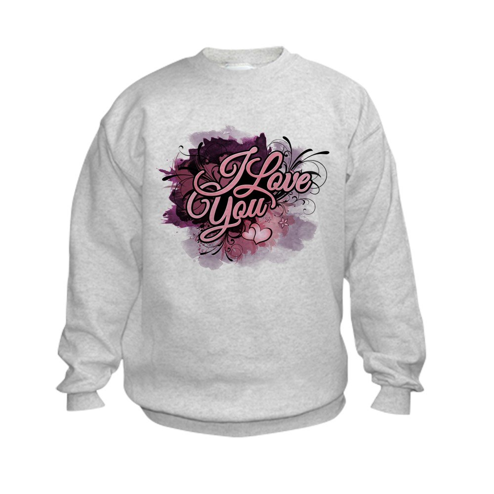 Truly Teague Kids Sweatshirt I Love You Purple Floral Grunge - Small (6-8) by Truly Teague