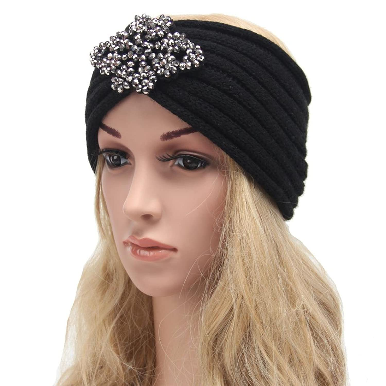Deamyth Winter Women Girl Knitting Wool Headband Diamond Bow Hairband