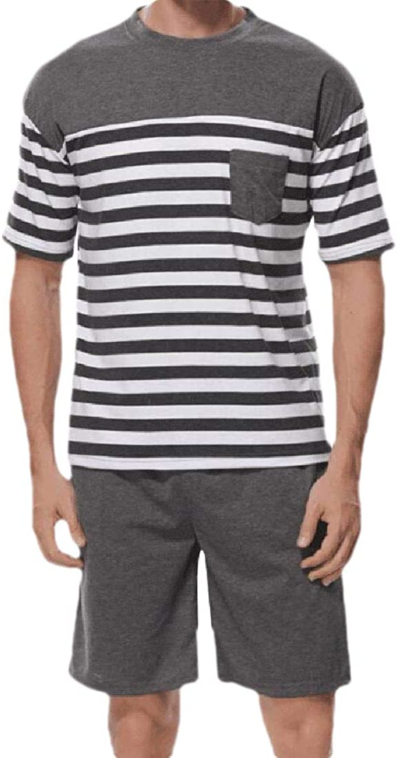 CBTLVSN Mens Shorts and Top Home Wear Short Sleeve Summer Striped Cotton Pajama Sets