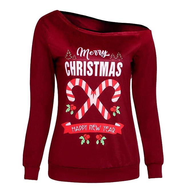 Bestow Carta de Navidad Impresa Camiseta de Manga Larga Moda Mujer Feliz Navidad Top Blusa de
