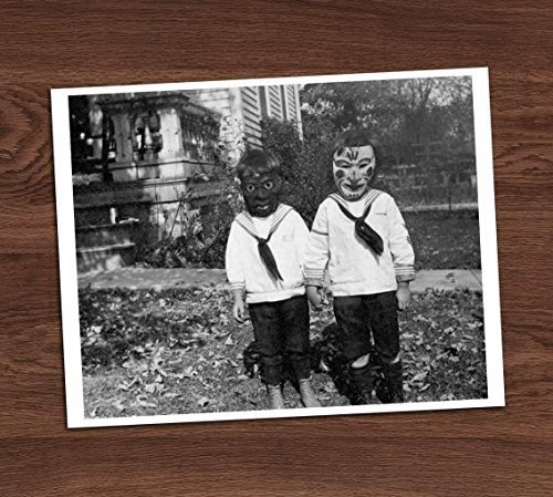 Creepy Cute Kids Children Friends Masks Vintage Photo Art Print 8x10 Wall Art Halloween Black White Decor ()