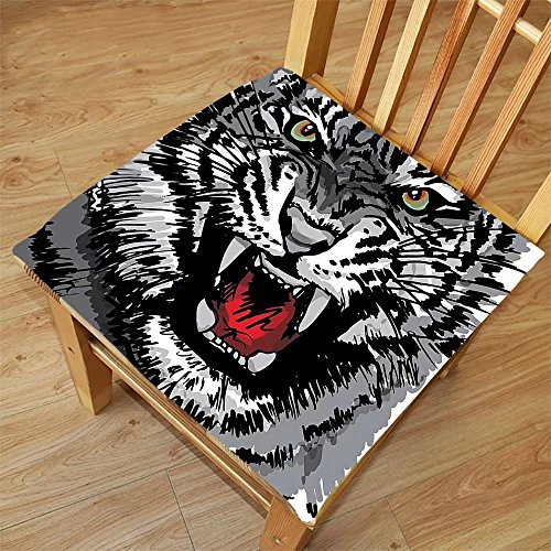 Nalahome Set Of 2 Waterproof Cozy Seat Protector Cushion Safari Decor Illustration Of Charismatic Tiger Territorial Predator Power With Unique Patterns Grey Black White Printing Size 20X20inch