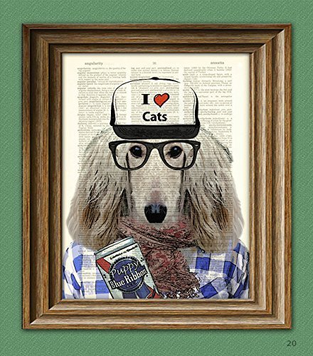 Sal the HIPSTER DOG Afghan with ironic hat and PBR illustrat