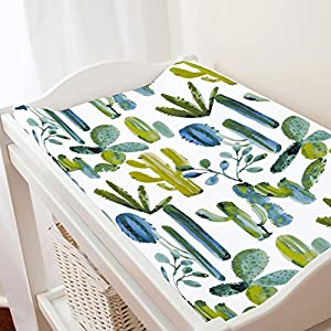 Carousel Designs Blue Painted Cactus Changing Pad Cover – Organic 100% Cotton Change Pad Cover – Made in The USA