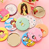 pinjewelr Women's Accessories Mini Round Cartoon Pattern Small Glass Mirrors Circles for Crafts Decoration Cosmetic Accessory