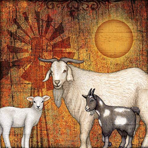 Farm Animals Decorative Square Art Print by Dan Morris