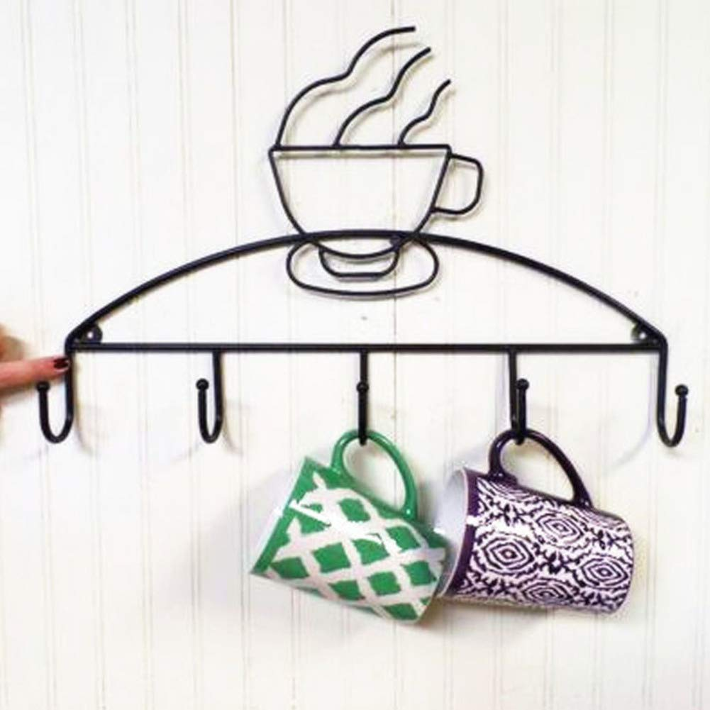 HUIYUE Wrought Iron Wall Hanging Mug Holder,Black Cup Holder,Handmade Creative Clothes Hook,Coat Hook-A 50x25cm(20x10inch)