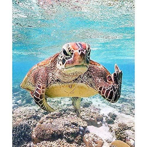 Diy 5D Diamond Painting Kit, Marine Animal Turtle?Embroidery Rhinestone Cross Stitch Arts Craft Canvas Wall Decor(Frameless) ()