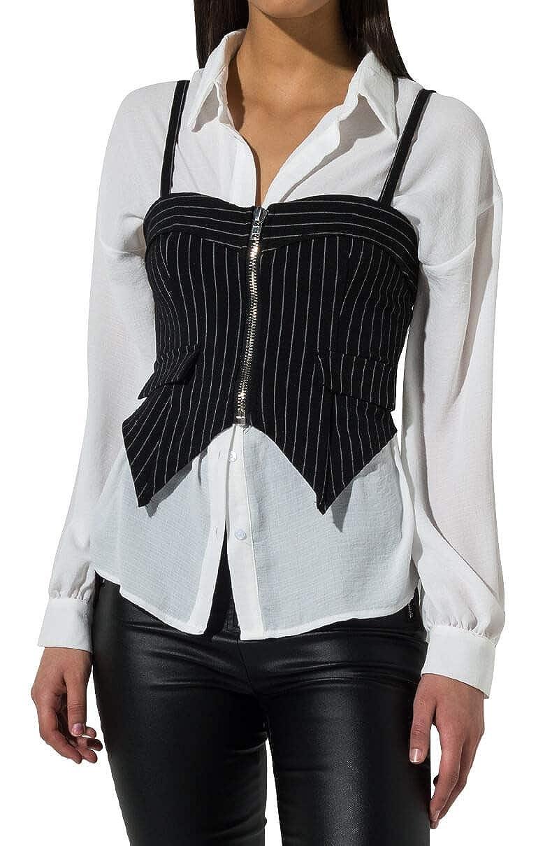 AKIRA Womens 2 in 1 Pinstripe Zip Front Vest Long Sleeve Collar Blouse Top