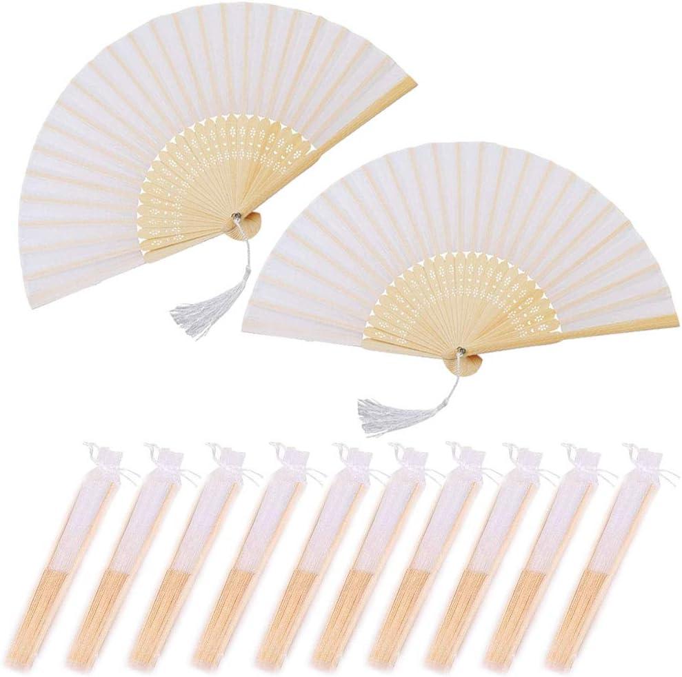 Nsiwem Abanico Plegable de Mano Tela Blanco 10 Piezas Ventilador Plegable Ventiladores de Mano Bambú Abanicos boda para invitados con el bolso del organza para Decoración Fiesta Boda DIY Regalo
