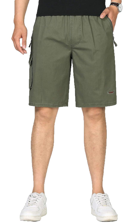 KEFITEVD Bermudas Homme Cargo Ete Vintage Short Multi Poches Coupe Ample Shorts Coton