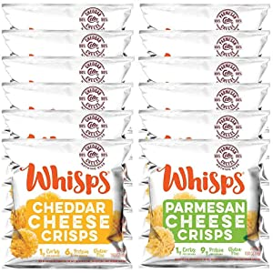 Whisps Cheese Crisps Single Serve 12 Count Variety Pack |Back to School Snack, Keto Snack, Gluten Free, Sugar Free, Low Carb, High Protein| 6 Parmesan and 6 Cheddar (12 x 0.63oz)