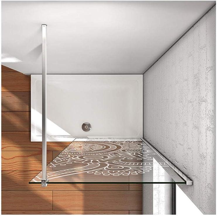 CustomGlass Mampara Panel fijo para ducha cristal de seguridad de ...