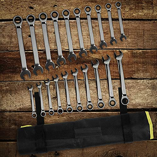 FIXKIT 20-Piece Ratcheting Wrench Set Ratchet Wrenches Set, Professional Superior Quality Chrome Vanadium Steel SAE & Metric Combination Ended Standard Kit with Portable Suspended Canvas Bag by FIXKIT (Image #5)