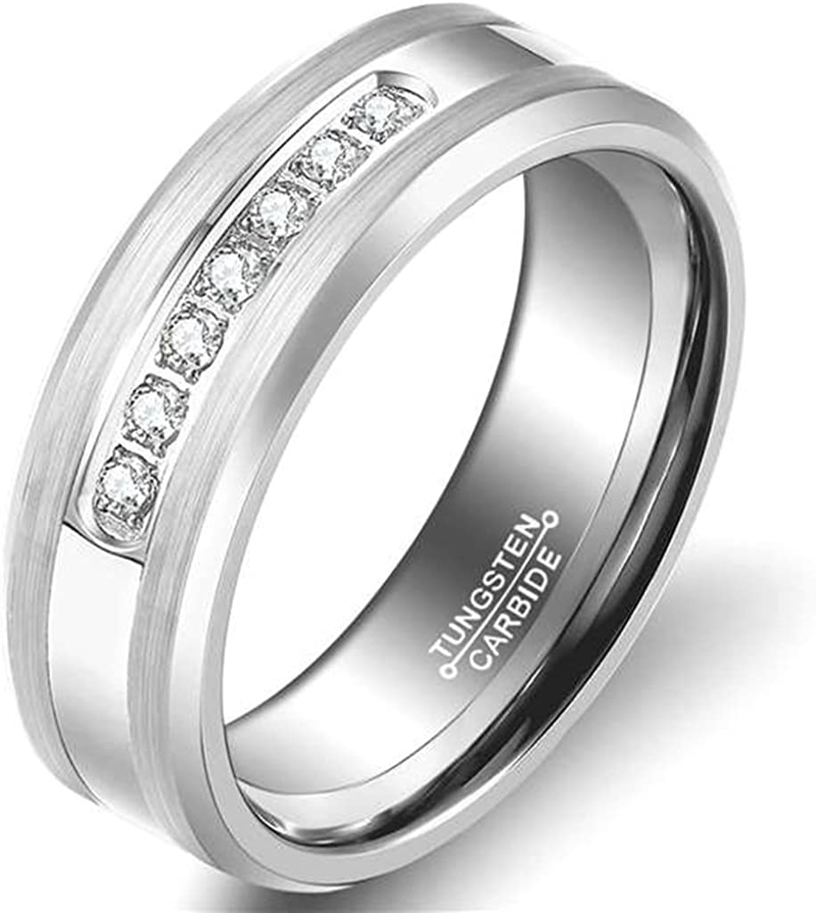 AMDXD Jewelry Free Engraving Rings for Men Round Silver Wedding Bands 8MM