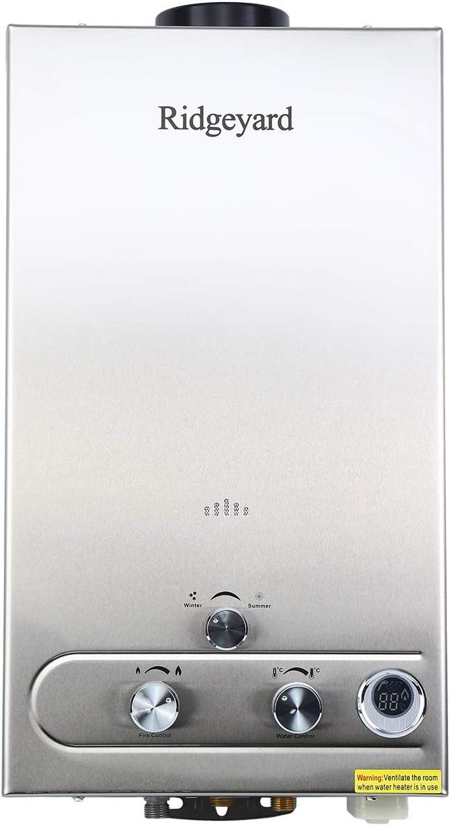Iglobalbuy 12L LPG Calentador de agua Acero inoxidable Calentador de agua Instantáneo Caldera Cepillado Con ducha (12L)
