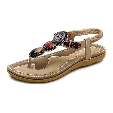 0d8380c2ca72bb HLIYY Bohemia Été Femmes Perle Sandale Plate Plage Casual Chaussures De  Vacances Habillé Sandales De Soirée