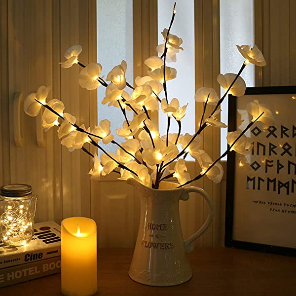 Amazon Com Yoyori Lighted Flowers Phalaenopsis Tree Branch Light Floral Lights Battery Operated With 20 Led Lighted Floral Branch Crafts For Home Christmas Party Garden Decor White Home Kitchen