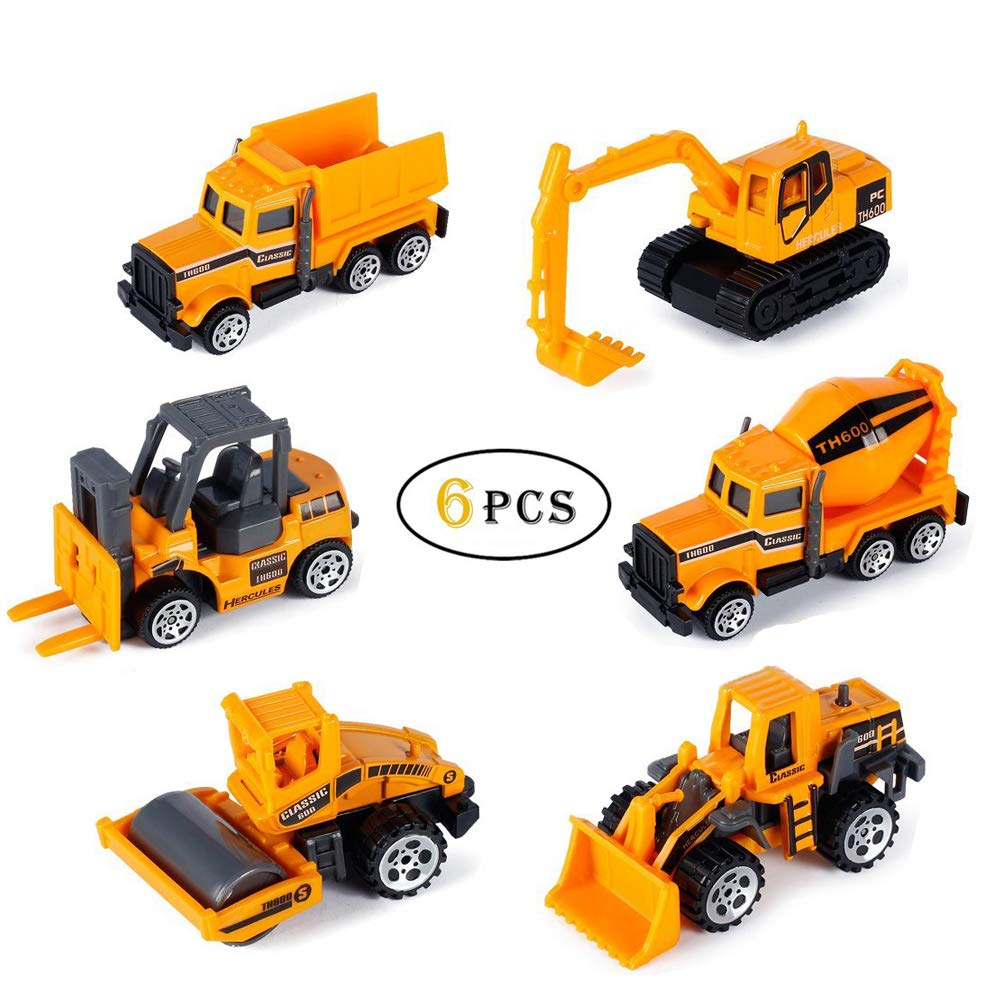 Joyjam Diecast Toy Vehicles, 1:64 Push Toy Car Play Set, Assorted Mini Toy Trucks, Gifts for Boys Girls Kids. (6 PCS)