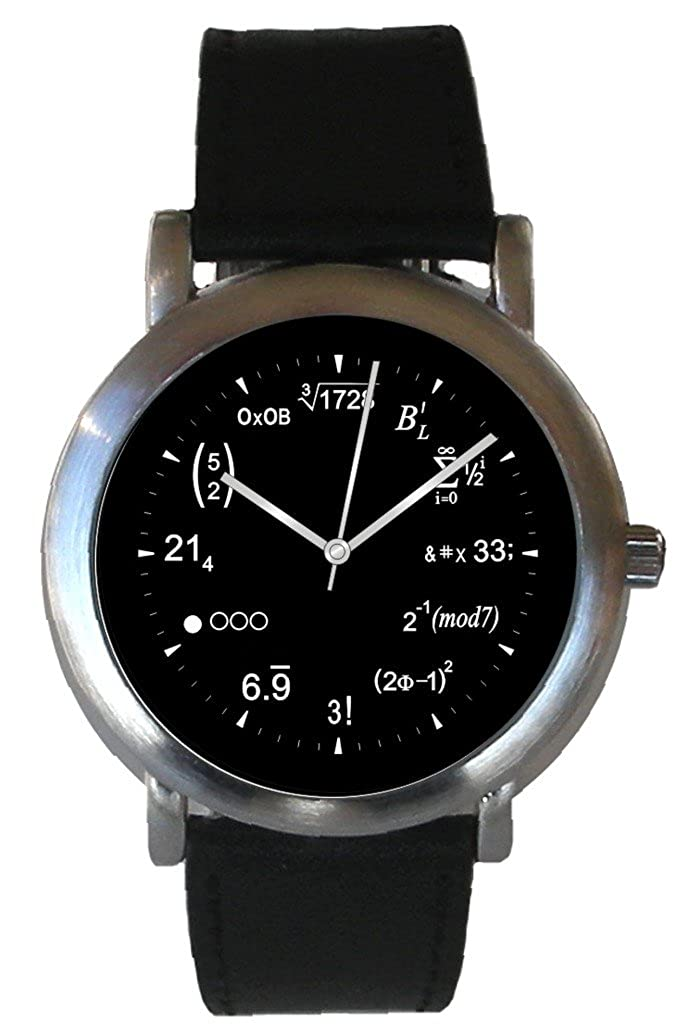 Math Dial Watch Shows Physics Equations at Each Hour Indicator of The Brushed Chrome Watch with Black Leather Strap