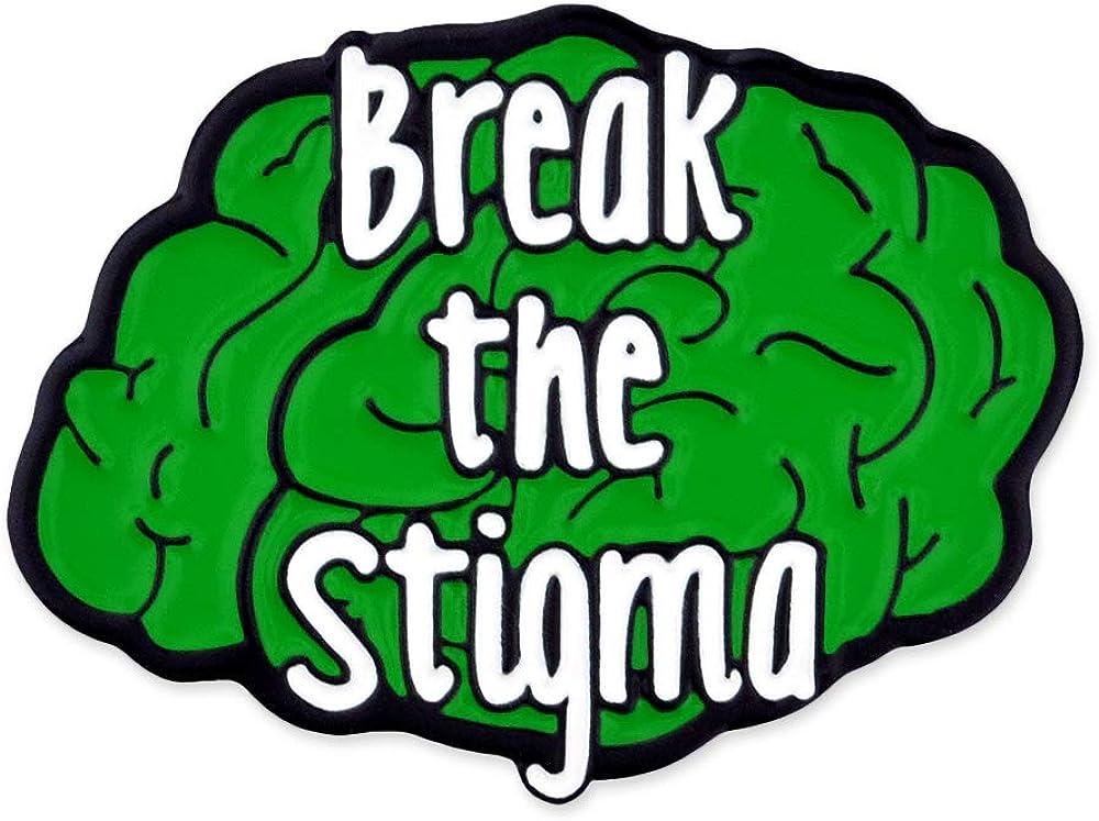 PinMart Break The Stigma Green Awareness Mental Health Brain Enamel Lapel Pin