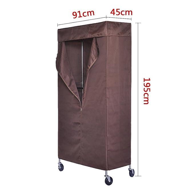 HLC Perchero para ropa tipo burro con 2 estantes 195 x 91 x 45cm, incluye funda protectora con cremallera