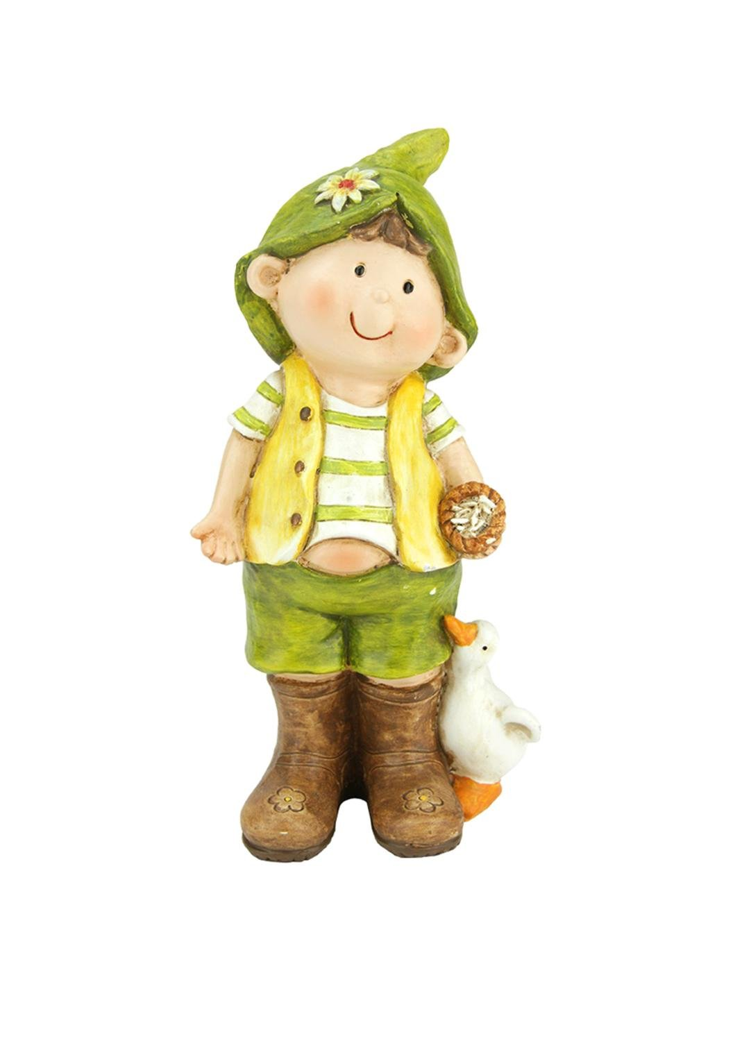 Northlight 9.75'' Young Boy Gnome Standing with Duck Spring Outdoor Garden Patio Figure