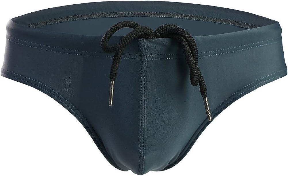 Summer Code Mens Solid Swim Briefs Drawstring Bikini Sport Swimsuit