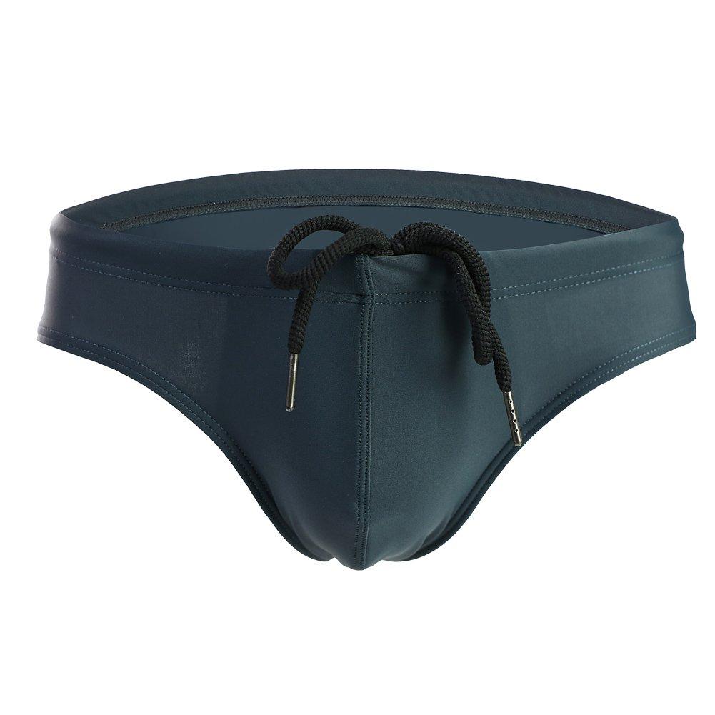 Summer Code Mens Solid Swim Briefs Drawstring Bikini Sport Swimsuit Dark Green