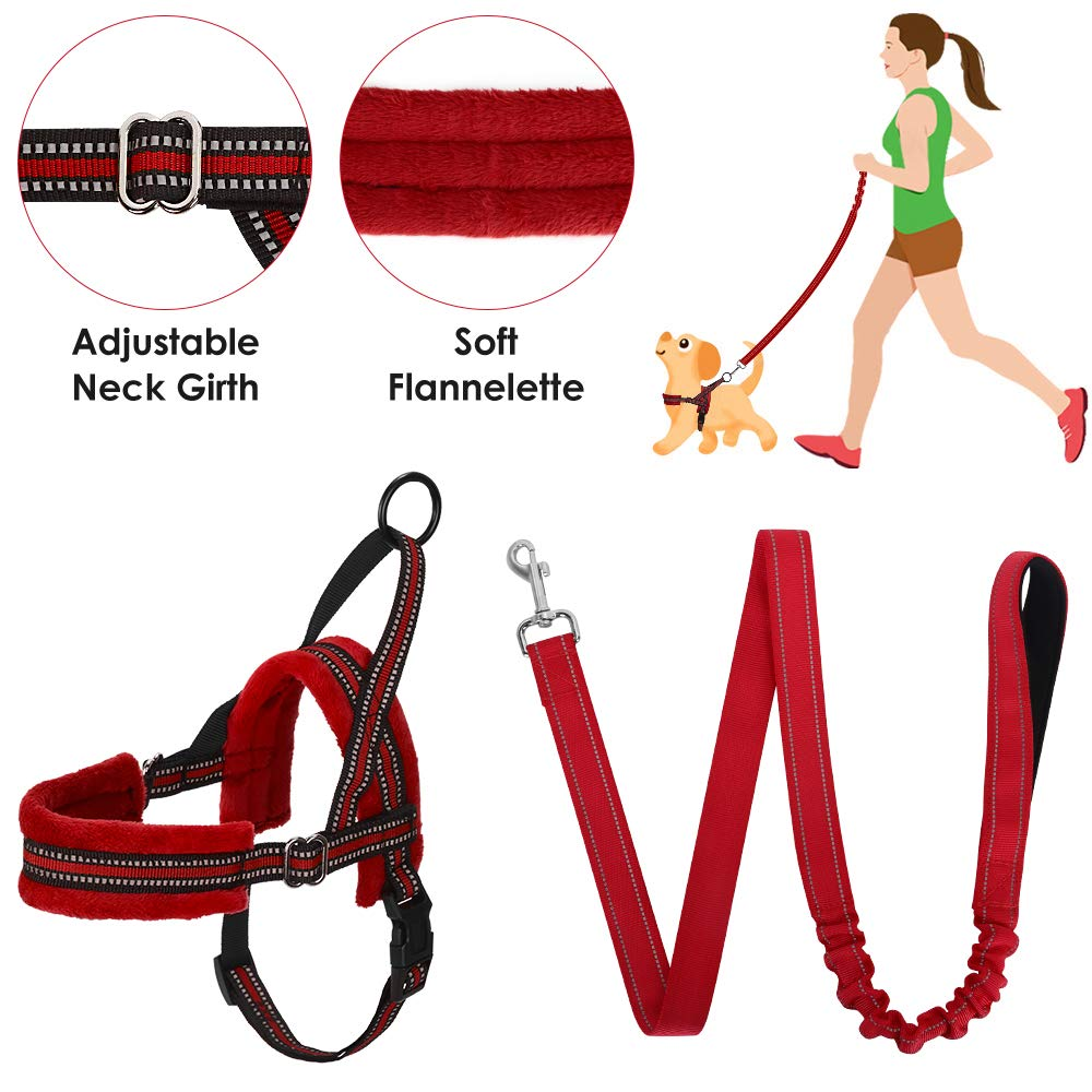 SlowTon No Pull Small Dog Harness and Leash, Heavy Duty Easy for Walk Vest Harness Soft Padded Reflective Adjustable Puppy Harness Anti-Twist 4FT Pet Lead Quick Fit for Small Dog Cat Animal (s, Red) by SlowTon