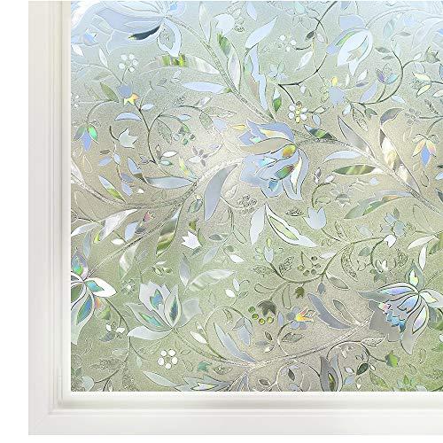 "Rabbitgoo Window Film Non Adhesive Window Privacy Film 3D Static Cling Window Glass Film Decorative Anti UV Window Sticker Heat Control Window Cling for Home Kitchen Office, 17.5"" x 78.7"""