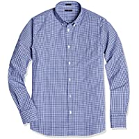 Crafted Collar Men's Slim Fit Button-Down Collar Gingham Check Business Casual Shirt