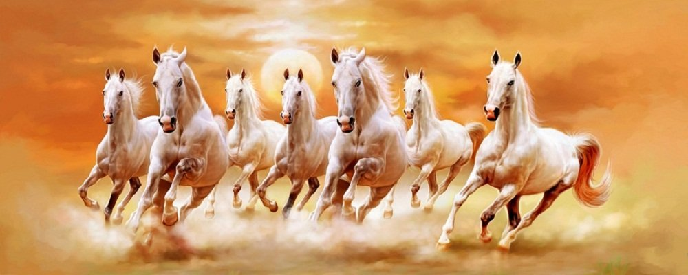 Art Factory Seven Horse Canvas Painting Vastu Painting
