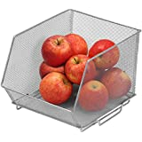 Mesh Stacking Bin Silver (Sold As 1 Bin) Storage Containers Great for Food, Crafts, Cleaning or Pantry Items 1613 (Large 15x11x8)