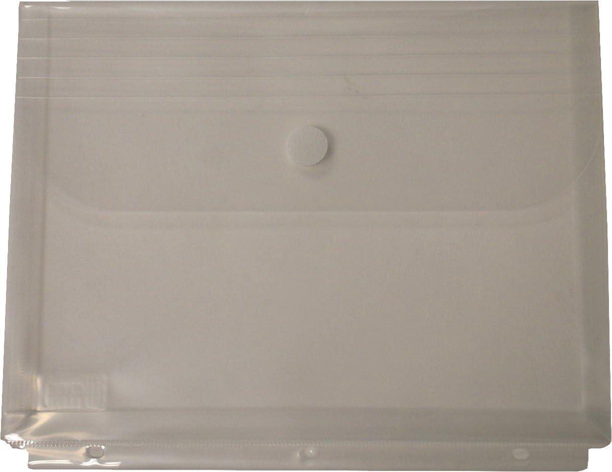 Filexec Poly Envelope, Letter, Side-Load, Hook & Loop Fastener, 3-Hole Punched, Clear (Pack of 12) (50086-17223)