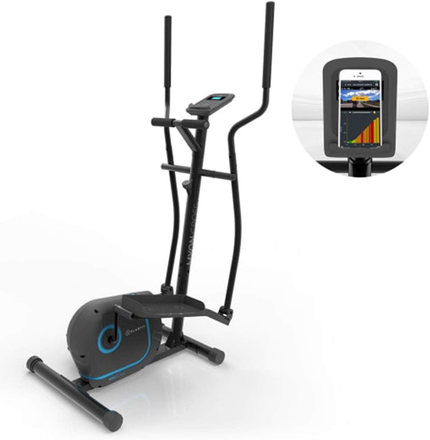 KLAR FIT Klarfit Myon Cross Premium Bicicleta elíptica - 8 Niveles, Volante de inercia de 12kg, Pantalla LCD, accionamiento por Correa silencioso, Pulsómetro, Protección del Suelo, Negro: Amazon.es: Deportes y aire libre