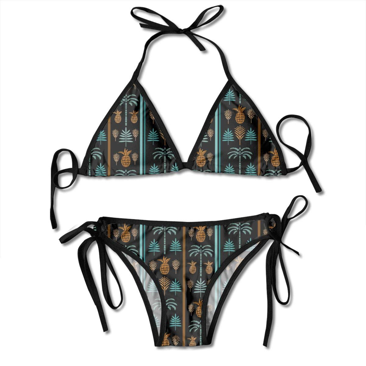 12b4f670a5 Amazon.com : Silhouettes Tropical Coconut Palm Pattern Bikini Set  Adjustable Halter Sexy Women's Swimsuits Swimwear for Vacations : Sports &  Outdoors