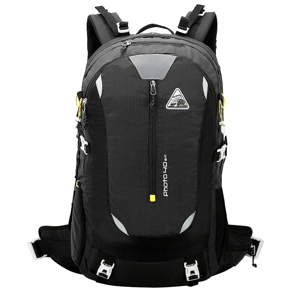 Kimlee 40lメンズレディーススポーツ旅行登山バックパックwith雨カバー  ブラック B07B4QCP42