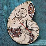Automaton Nautilus Shell wooden steampunk handcrafted wall clock unique personalized custom made gift, nautical home… 6