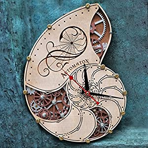 Automaton Nautilus Shell wooden steampunk handcrafted wall clock unique wall clock personalized gifts, anniversary gift, large wall clock modern wall clock, nautical, beach, industrial decor