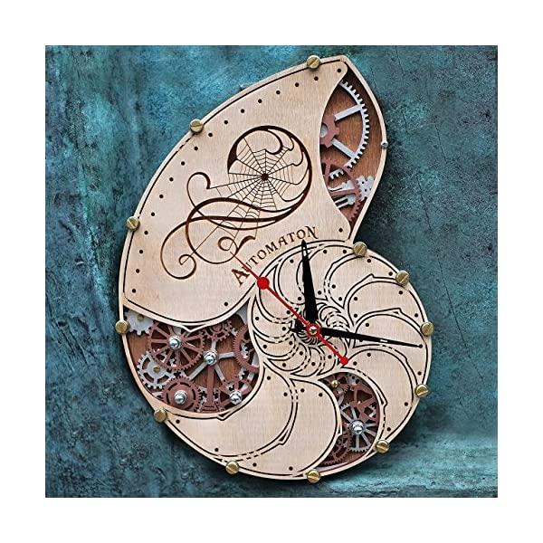 Automaton Nautilus Shell wooden steampunk handcrafted wall clock unique personalized custom made gift, nautical home… 3