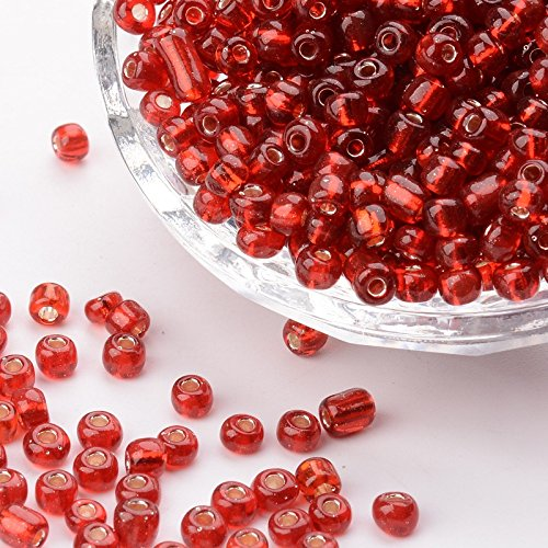 PandaHall Elite About 4500 Pcs 6/0 Glass Seed Beads Silver Lined Red Round Pony Bead Mini Spacer Beads Diameter 4mm for Jewelry Making