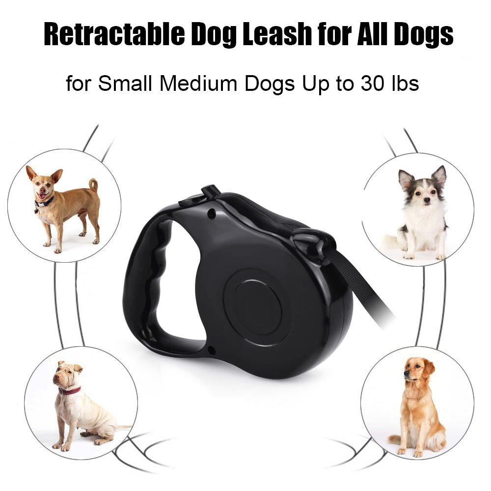 Retractable Dog Leash 16.5FT Extra Long Walking Leash with Break and Lock Button, Tangle Free, Reflective Ribbon Cord, Suitable for Small Medium Breed Dogs By WLWQ - Up to 33LBS / 15KGS Pets (Black)