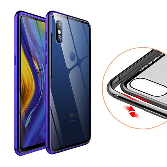 online retailer 4c94c 2df98 FUNIT Xiaomi Mi Mix 3 Bumper Case Metal Slim Aluminum Frame + Ultra Clear  Tempered Glass Back Protective Case for Xiaomi Mi Mix 3 (Purple)