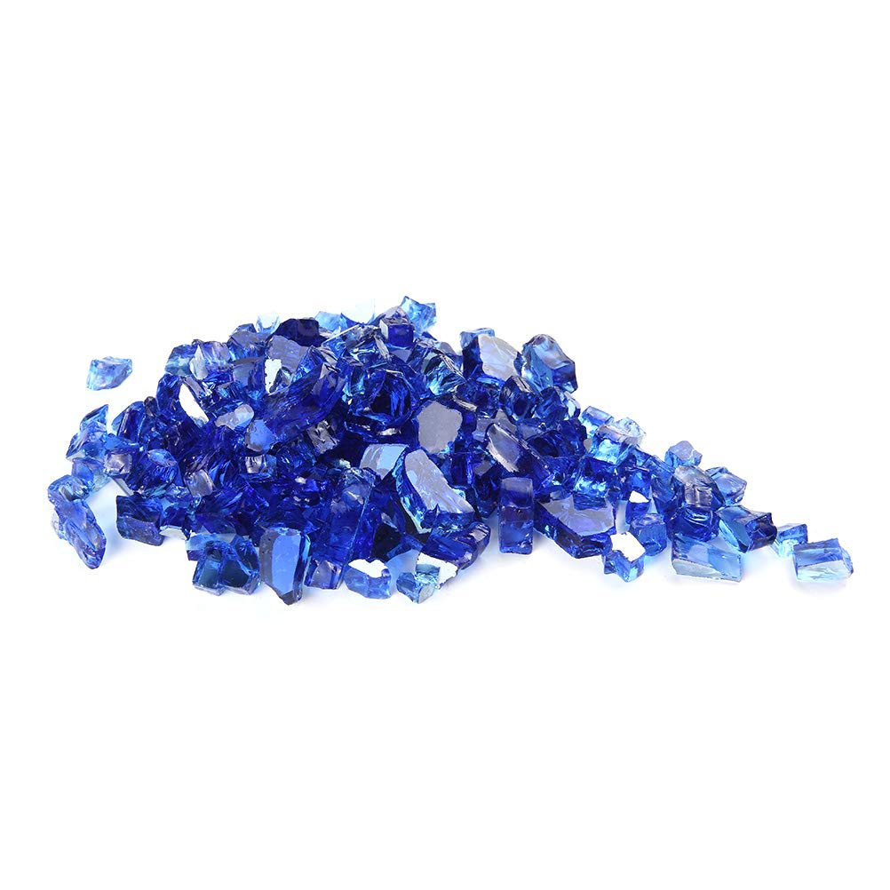 MITOO Fire Glass for Fire Pit - Crushed Fire Glass for Indoor and Outdoor Gas & Propane Fireplace Glass Beads Decor - Diamonds Semi-Reflective | 10 Pounds | 1/2 Inch, Margarita Sapphire-Blue Luster