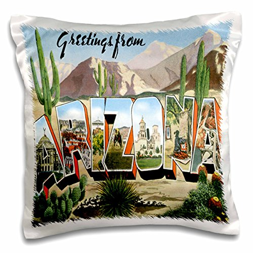 BLN Vintage US Cities and States Postcards - Greetings From Arizona Desert Scene with Large Letters Containing City Scenes - 16x16 inch Pillow Case (pc_160719_1)