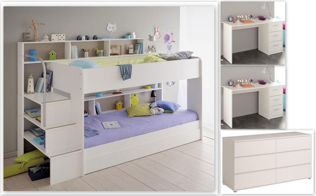 expendio Kinderzimmer Twin 61 Weißszlig; Etagenbett mit Bettkasten 2X Schreibtisch Kommode Bett
