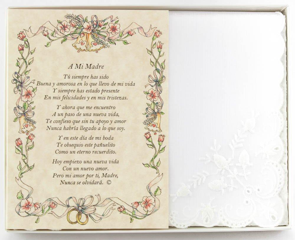 Wedding Collectibles Poetry Hankie La Madre de la Novia Wedding Handkerchief in Spanish