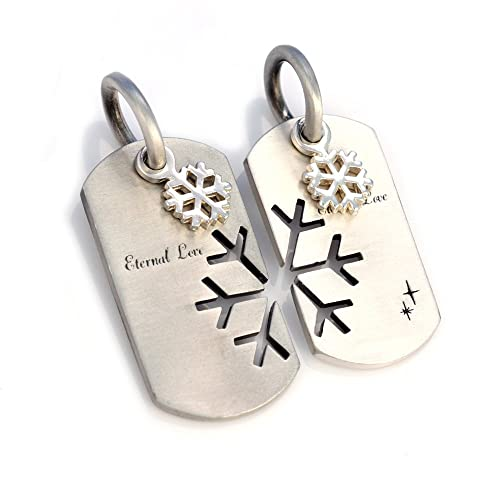 c0413b5288 Image Unavailable. Image not available for. Color: Bico Australia Eternal  Love Matching Pair Dog Tag Pendants with Silver Or Gold Snowflake