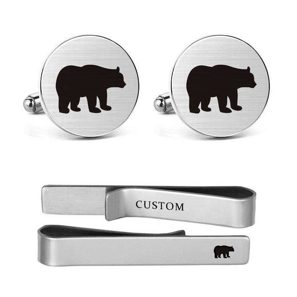 MUEEU Bear Cufflinks Engraved Animal Wedding Gift for Papa Father Dad Teddy Polar Grizzly Fozzie Honey Bears Tie Clips (Bear round Cufflinks and tie clips)